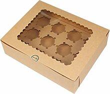 1 boîte à cupcakes 12 cavités pour muffins,