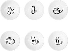 1 Ensemble 6pcs Cute Cat Cat Ceramic Sauce