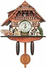1 horloge à coucou en bois sculpté à piles (G)