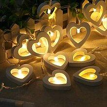 10/20/30 LED Bois Étoile Coeur Chaîne Lumières