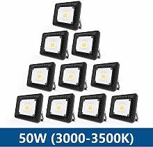 10× 50W Projecteur LED IP65 Étanche Ultra-Mince