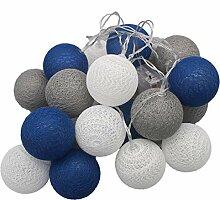 10Pieds mixtes Bleu marine Gris Blanc Boule de
