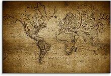 100X 70Cm image sépia carte du monde vintage