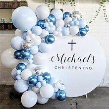 102 pièces bleu ballon guirlande Kit blanc bleu