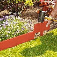 10pc Orange Rouge Jardin Clôture Bordures Cobbled