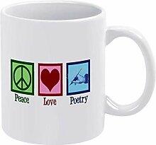 11 oz tasse à café en céramique paix amour