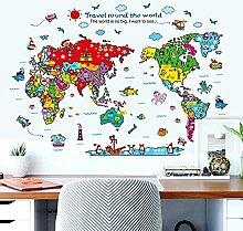 118x83 Cm Animal Carte du Monde Stickers Muraux