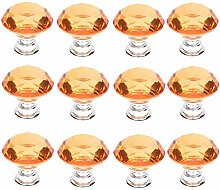 12 PCS 40MM jaune cristal verre forme de diamant