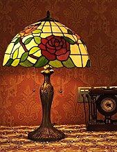 16 pouces Style Pastoral Vitrail Série Rose Lampe