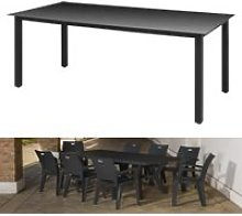 190 x 90 x 74 cm Table de jardin Noir Aluminium et