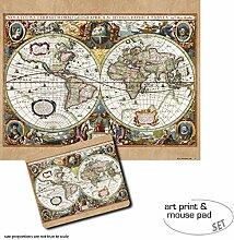 1art1 Cartes Historiques, Carte du Monde, Nova