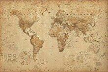 1art1 Cartes Historiques Poster - Carte du Monde,