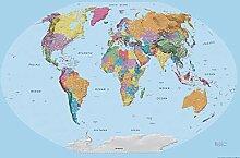 1art1 Cartes Poster - Carte du Monde, en Anglais