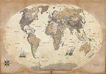 1art1 Cartes Poster Papier Peint - Carte du Monde,