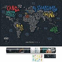 1DEA.me Carte du Monde de Voyage à gratter Noir