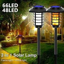1PC 66LED 2 en 1 LED Solaire Flamme Torche Lampe