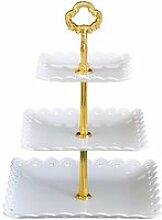 1Pc trois couches assiettes à gâteau plateau à