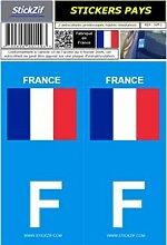 2 autocollants Pays drapeau FRANCE