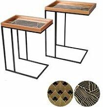 2 Bouts de canapé design Art Déco - Noir et doré