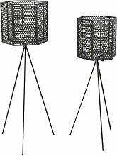 2 Cache-pots sur pieds en métal Mesh - Noir