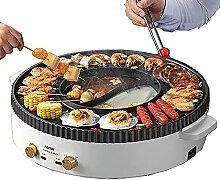 2 En 1 Fondue Electrique Hot Pot BBQ,Barbecue