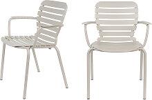 2 fauteuils de jardin en métal beige