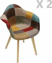 2 fauteuils design scandinave patchwork - marron