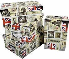 2.J. London, Lot De 4 Boîtes De Rangement en