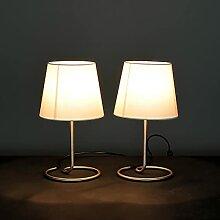 2 Lampes de chevet élégante abat-jour en tissu
