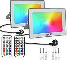 【2 Pack】CLY RGB Projecteur LED Exterieur 25W,