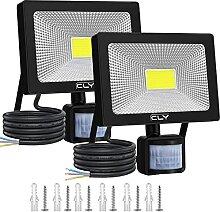 2 Pack Projecteur LED Avec Détecteur 30W【Blanc