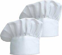 2 Pcs Chapeau de Chef Élastique ZKSM, Toque de