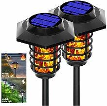 2 pièces de lumière de flamme solaire extérieur