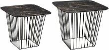 2 Tables d'appoint design effet marbre Olyt -