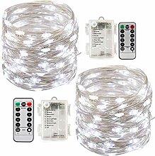 2 x10m Guirlande LED Lumineuse à Pile 100 LEDs