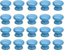 20 boutons ronds bleus de style simple, boutons de