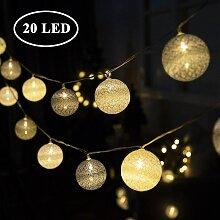 20 LED Blanc Chaud Ø 6 cm Guirlande Lumineuse