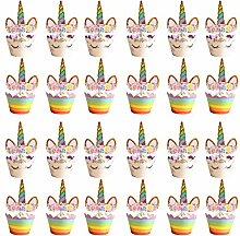 24PCS Licorne Cupcake Topper, Cup Cake Toppers