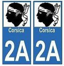 2A Corse Corsica autocollant plaque