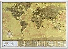 2Maps Carte du Monde à Gratter avec Cadre, Grande