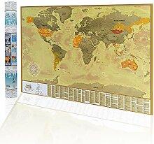 2maps Carte du Monde à Gratter, Détaillée Carte