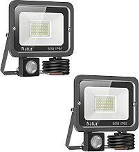 2PCS 50W Projecteur LED Exterieur Detecteur de
