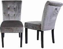 2pcs Chaise en Velours Chaise d'appoint en