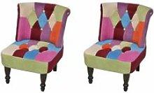 2PCS Fauteuil Chaise style France design patchwork