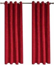 2pcs Rideau Velour rouge à Oeillet Draperie