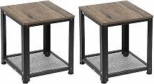 2PCS Table de chevet industriel - 40.2 x 40.2 x 45