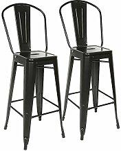 2PCS, Tabouret de Bar Industrielle, Chaise Haute