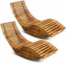 2X Chaise Longue à Bascule Bois d'acacia