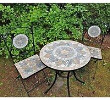 2x chaises mosaïque et Table de Jardin ronde avec