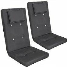 2x Coussins de chaise Anthracite avec Dossier
